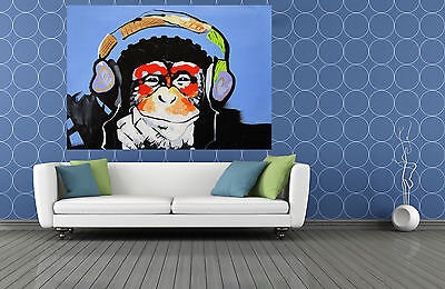 "MASSIVE CANVAS Banksy Street Art Print DJ MONKEY chimp PAINTING 59"" x 39"""