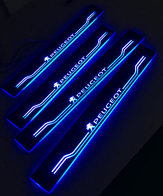 4X Blue LED Moving Light Door Sill Plate For Peugeot 308 molding Customize New