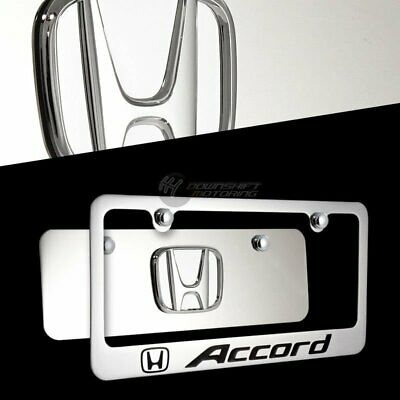3D HONDA Front Mirror Stainless Steel License Plate Frame CIVIC ACCORD w// Caps