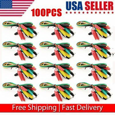 "15.5"" Crocodile Alligator Double-ended Clip Test Jumper Probe Lead Wire Cable AS"