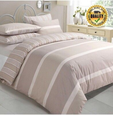 Leo Natural Stripe Duvet COVER WITH PILLOW CASE BEDDING Set Single Double King