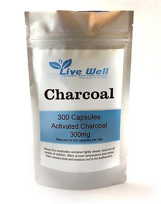 Live Well Activated Charcoal Capsules 300mg for Digestion,Bloating, Vegetarian