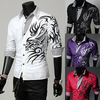 Fashion Mens Casual Slim Fit Dress Shirt Dragon Tattoo Tops Party T-shirt Blouse