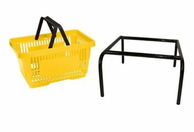 20 x Yellow Plastic Shopping Basket with FREE Black Metal Stacker