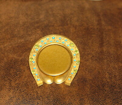A Fine Horse Shoe Shaped Gilt Metal Photograph Frame.french Late 19Th.