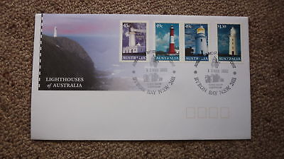 2002 Lighthouses Of Australian Fdc, 4 Stamps, Lighthouse Pm Byron Bay