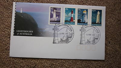 2002 Lighthouses Of Australian Fdc, 4 Stamps, Lighthouse Pm Wollongong