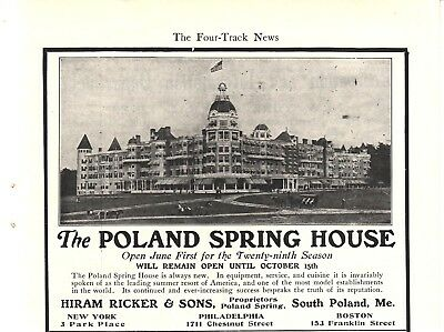 1904 Ad for The Poland Spring House, Hiram Ricker & Sons, South Poland, Maine