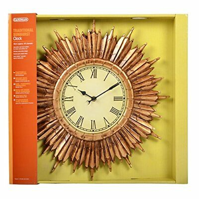 Gardman Outdoor Indoor Round Garden Clock with Roman Numerals Gold 40cm Gift