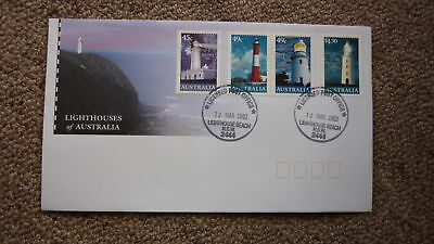 2002 Lighthouses Of Australian Fdc, 4 Stamps, Lighthouse Pm L/h Beach