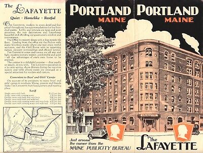 1920s Ad brochure for The Lafayette Hotel in Portland, Maine with map