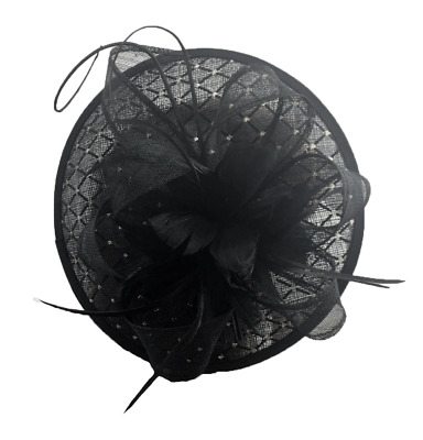 Large Black Flower Feather Hair Hat Fascinator Headband Clip Wedding Royal Ascot