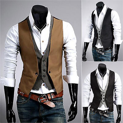 Men's Retro Waistcoat Formal Business Suit Vest Slim Fit Casual Jacket Coat Tops