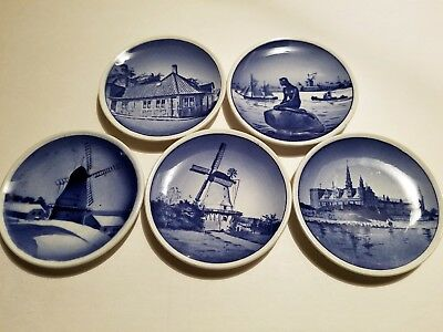 """A Collection Of Five Vintage Royal Copenhagen 3.25"""" Collector's Plates"""