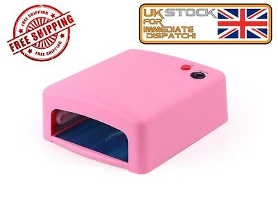 36W UV Lamp Gel Polish Curing Nail Art Dryer Manicure w/ Timer & 4 Bulbs Pink