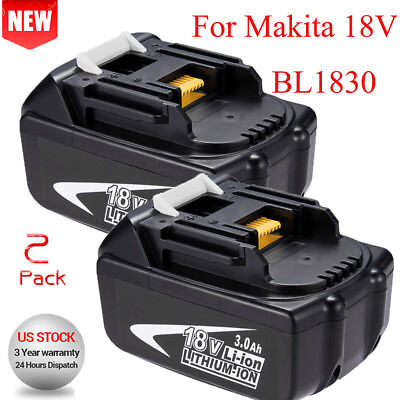 2X For Makita 18V 3.0AH BL1840 BL1830 BL1815 LXT Lithium Ion Battery Cordless US