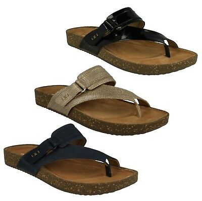 53cd4a95b Ladies Clarks Leather Unstructured Toe Post Casual Mule Sandals Rosilla  Durham