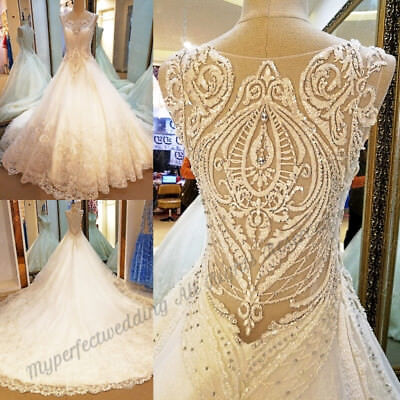 GORGEOUS Custom Made Embroidered Wedding Dress Luxury Bridal Gown Sheer Baeded
