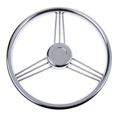 "Stainless Steel 13"" Steering Wheel with Knob 3 Spoke for Boat Marine Yacht"
