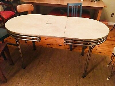 Vintage 1950s Mid-Century Retro Formica Chrome Dinette Kitchen Table