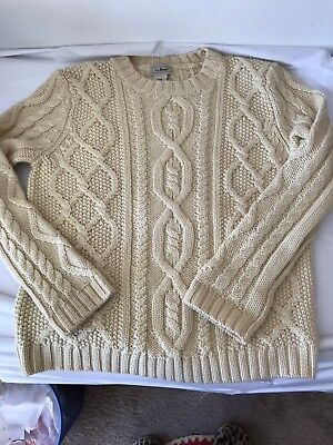 LL BEAN Boys Cable Knit Sweater M 10-12 Crew Neck Fisherman's Pull Over