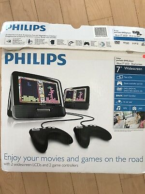 Tragbarer PHILIPS DVD Player, 2 Monitore, 2 Joy Sticks, Spiele CD