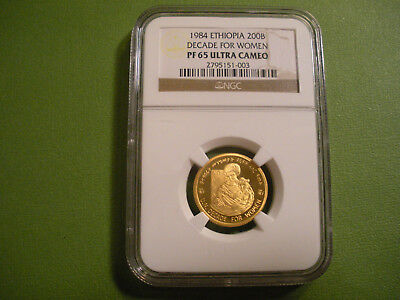 1984 Ethiopia Gold 200B Decade for Women NGC PF 65 Ultra Cameo - Only 298 Minted