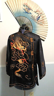 Rare 1930's  Black Satin Japanese Jacket With Gold & Red Embroidered Dragon