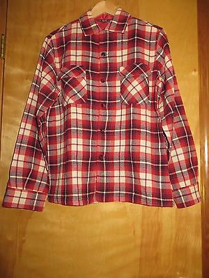 True Vtg 50s Mens Red Plaid Woolrich Shirt Rockabilly VLV Large
