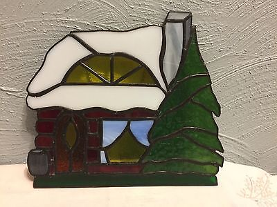 Hand made Vintage Stained Glass Art Cottage Yellow Window Wall Hanging