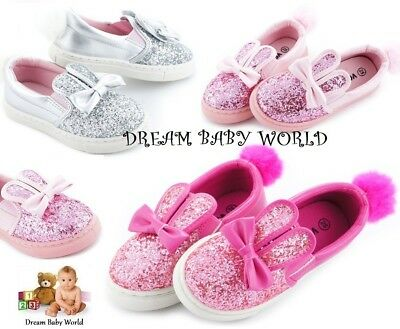 KIDS GIRLS Glitter Pom Bunny Pumps CHILDRENS Plimsolls SNEAKERS TRAINERS SHOES