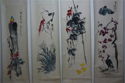 "RARE Chinese 100% Hand Painting 4 Scrolls ""Plants & Animals"" By Qi baishi 齐白石 A8"