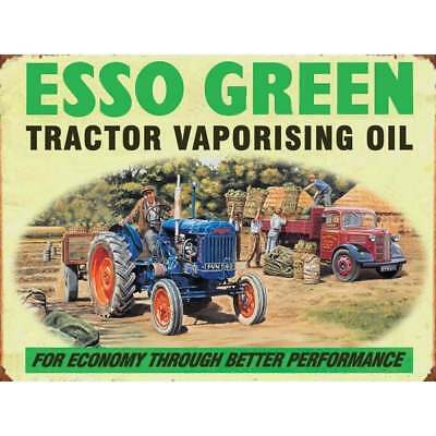 """Original Metal Sign Co Wall Sign Esso Green Oil Vintage Advert 8"""" x 6"""""""