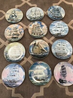 Complete Set Of 12 Danbury Mint Great American Sailing Ship Plates