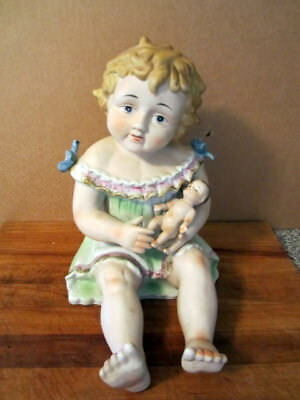 "Large Antique German Bisque 12"" Piano Baby Holding Baby"
