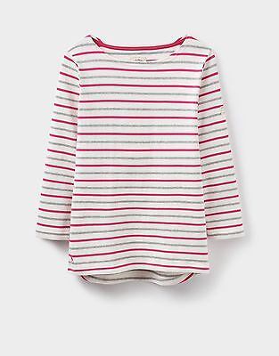 Joules Ladies Harbour Stripe white pink grey stripe Top. Size 8, new with tags
