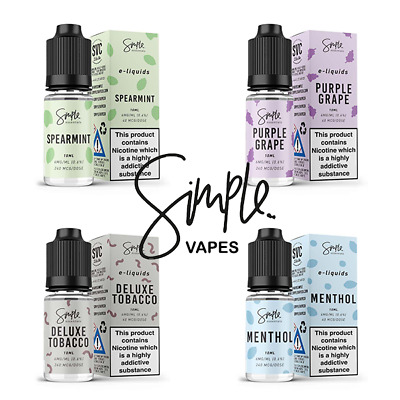 10ml Simple Vapes 50/50 E-Liquid Juice Eliquid Refil Vape TPD 6MG 12MG 18MG - UK
