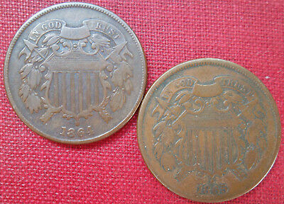 1864 and 1865 2-cent pieces, nice circulated specimens