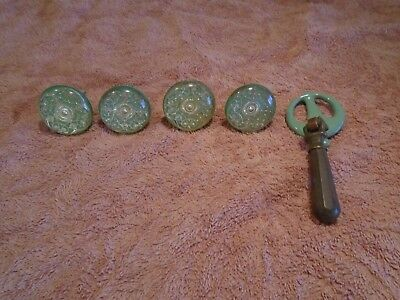 VINTAGE 5 LOT Green Ornate Design Cabinet Handle Drawer Pull's & Cast Iron~Brass