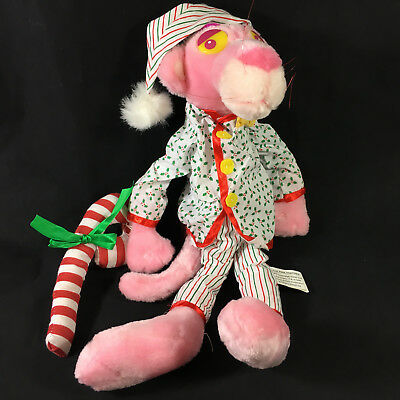 "Pink Panther Plush in Christmas Pajamas 17-18"" 1999 Tags White w/ Holly & Cap"