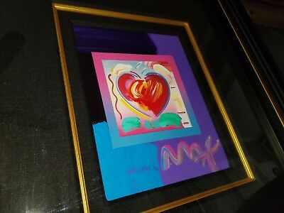 Peter Max Heart on Blends Mixed Media Unique Variation