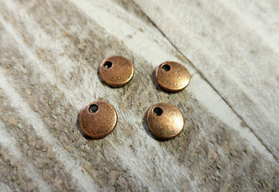 50 BULK Charms Metal Stamping Blanks Circle Charms Antiqued Copper Pendants 8mm