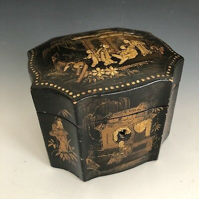 Antique Mid Nineteen Century Japanese Black lacquer box