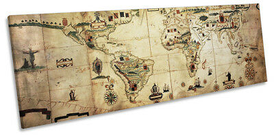 Antique Vintage World Map Framed PANORAMA CANVAS PRINT Wall Art