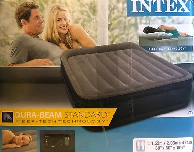 Intex Luftbett Deluxe Pillow grey-blue Queen (230 V), grau, 152 x 203 x 42 cm