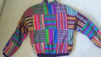 Tipico Guatemalan jacket medium, multi-color, used, hand-woven, lined, zipper