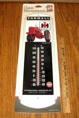 "IH International Harvester Chicago IL Farmall 400 Tractor Thermometer Case 17""x5"