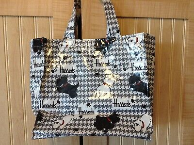 """HARRODS SMALL TOTE, """"SCOTTY DOG DESIGN"""", VINYL HOUNDSTOOTH DETAIL, small spots"""