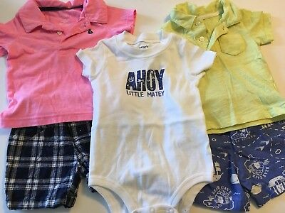 Boys Clothes 12 Months Carters summer outfits lot nautical plaid polo