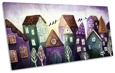 Village Houses Abstract Framed PANORAMIC CANVAS PRINT Wall Art